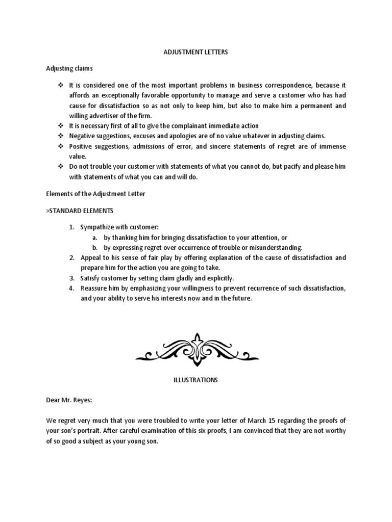 Elements of the adjustment letter business altavistaventures Image collections