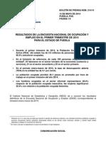 Desocupación en Puebla en el Primer Trimestre del 2014 INEGI