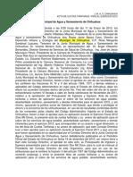 Acta de Tarifas de Agua y Saneamiento de 2012 del Municipio de Chihuahua México
