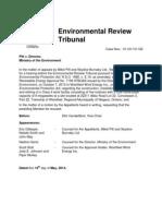 Environmental Review Tribunal recusal motion