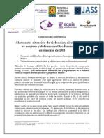 140514 COMUNICADO Alarmante Situación de Violencia y Discriminación vs Mujeres y Defensoras-1