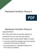 Markowitz Portfolio Theory II