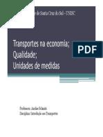 Aula 6 Transportes Na Economia Qualidade Unidades de Medidas