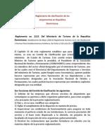 Reglamento de Clasificación de Los Alojamientos en República Dominicana