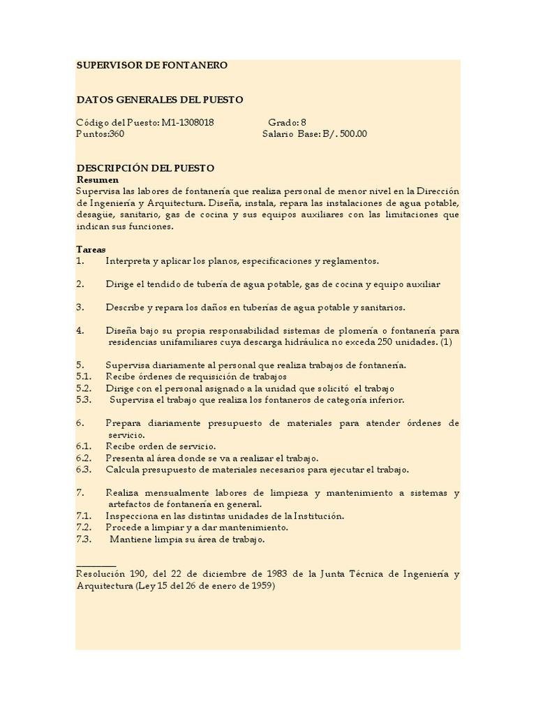 Supervisor de Fontanero