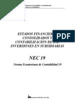 NEC 19 Estados Financieros Consolidados y Contabilización de Las Inversiones en Subsidiarias