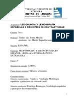 Lexicologia Lexicografia Espanolas y Principios de Contrastividad