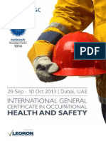 Brochure Nebosh September Dubai UAE 2013