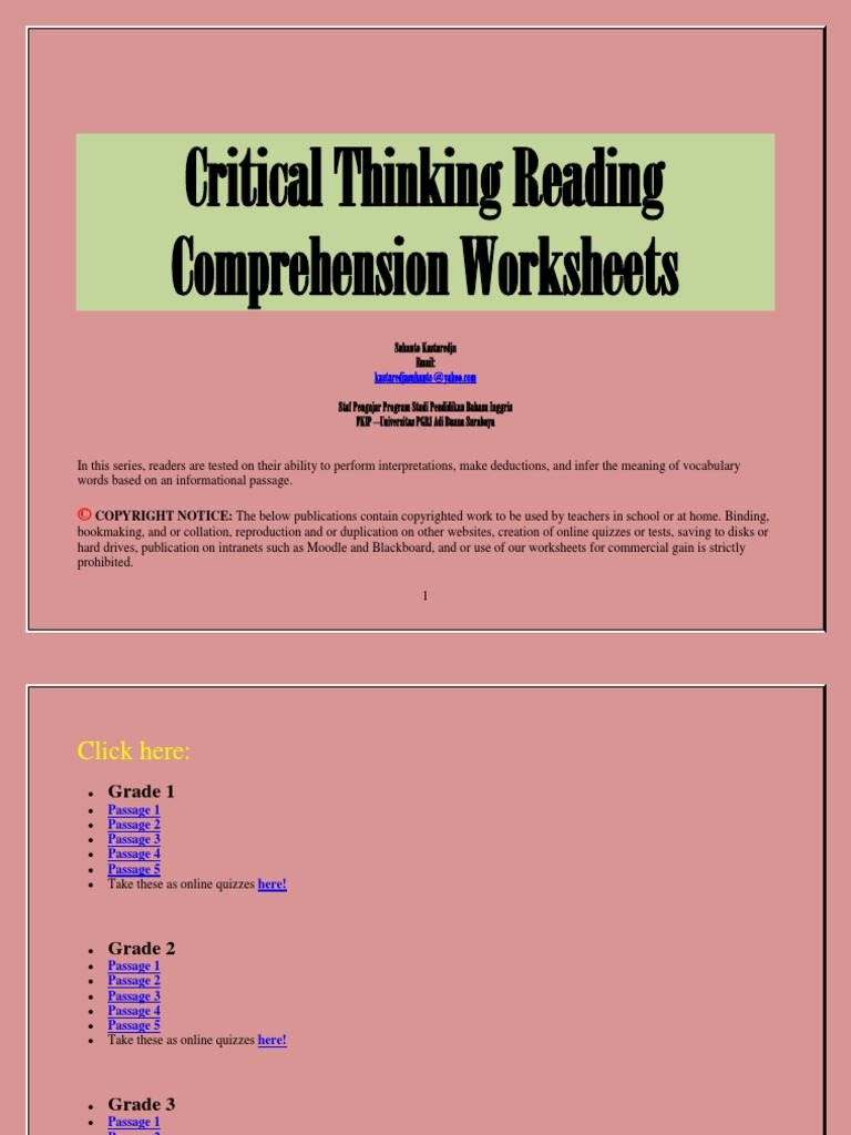 critical thinking reading comprehension passages These are interactive, computer-based, informational text-based reading comprehension passages and multiple-choice question sets they have been carefully designed to mirror those found on state-issued standardized tests we have recently added over one hundred new exercises these give immediate.