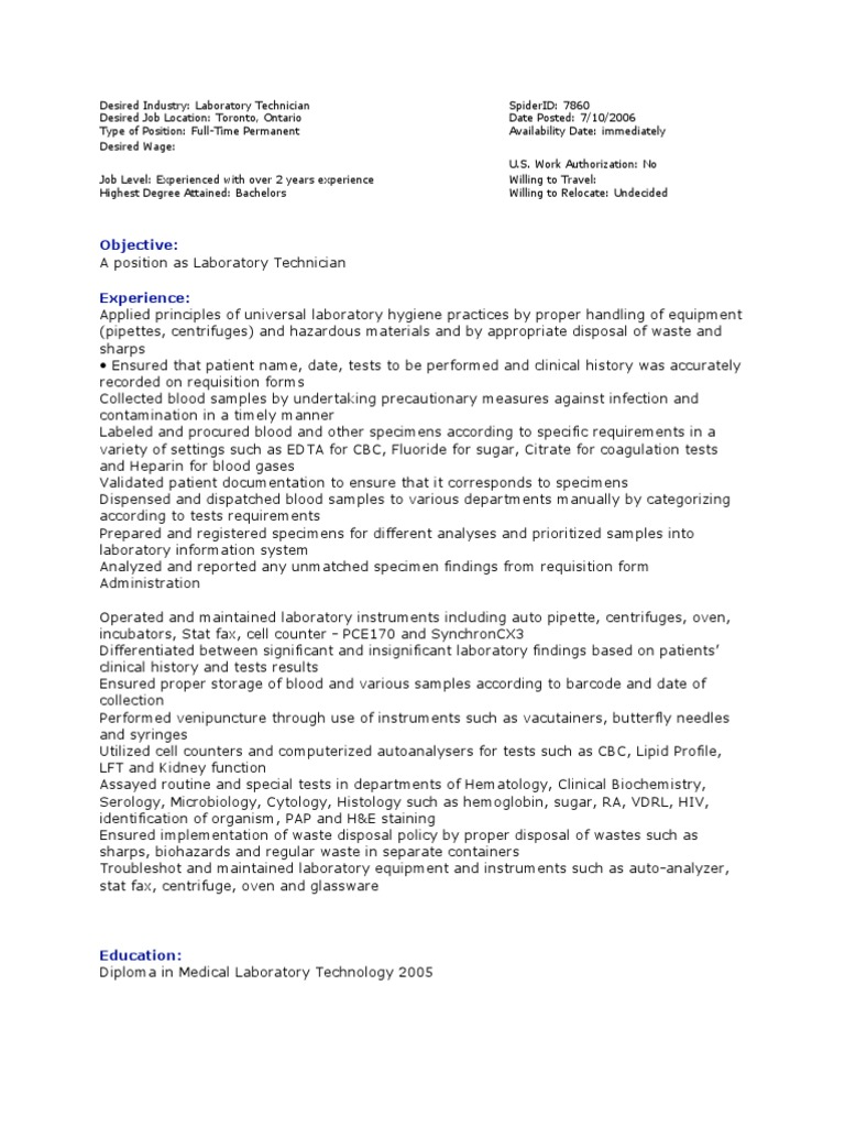 Sample Med Lab Tech Resumes | Medical Laboratory | Earth & Life Sciences
