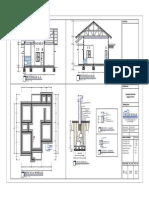 3 Potongan Rencana Pondasi Detail Pondasi Sloof Dn Kolom Gambar Rumah Type 70 R16