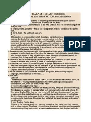 Contoh Debat Dalam Bahasa Inggris | Indonesian Language | Politics