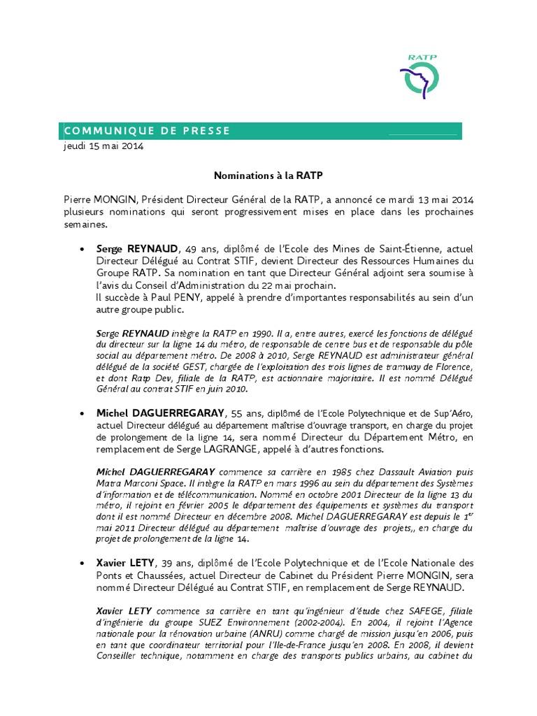 Cpresse Nominations Ratp 15 Mai 2014