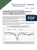 La croissance européenne au 1er trimestre 2014