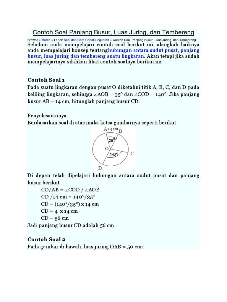 Contoh Soal Panjang Busur Lingkaran
