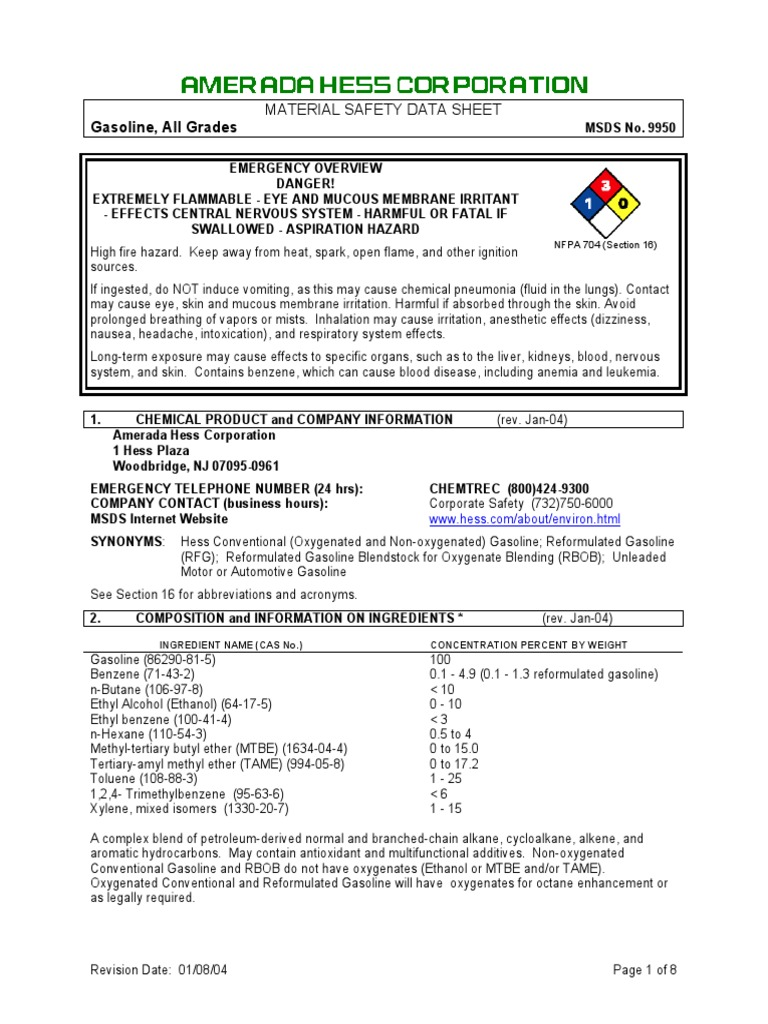 Gasoline MSDS | Firefighting | Gasoline