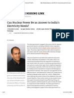 Can Nuclear Power Be an Answer to India's Electricity Needs