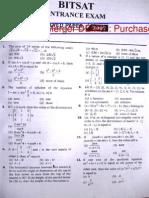 Bitsat 2007 Question Paper