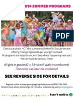 Girl Scout Flyer - Summer 2014 Program Guide