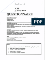 GCSE Topics - Questionnaire - Answers
