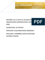 Informe de Visita Al Museo Nacional de Arqueologia Antropologia e Historia Del Peru