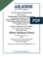 Marjorie Margolies-Hillary Clinton Fundraiser Invitaton