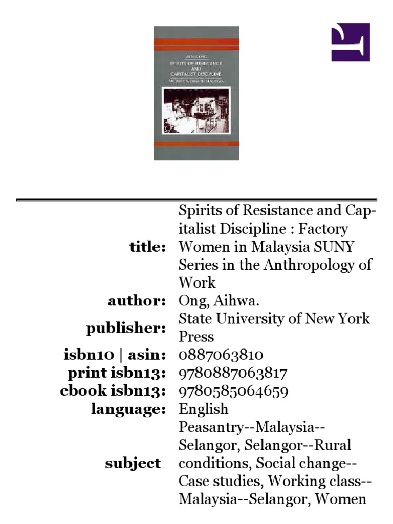 Ong Aihwa Spirits Of Resistance And Capitalist Discipline Ringgit Malaysia Factory Women In 1987 Capitalism