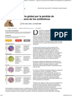 Alerta Global Por La Pérdida de Eficacia de Los Antibióticos - 09.05.2014 - Lanacion.com