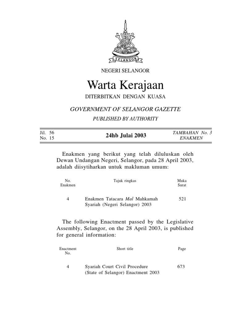Tatacara Mal Mahkamah Syariah Selangor