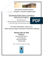 Romulus Library Adult Lit Info Meeting 5-19-14