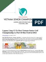 Laguna Lang Co to Host Vietnam Senior Golf Championship as Part of Hue Festival 2014