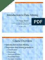 Introduction to Data Mining - Dr Sanjay Ranka