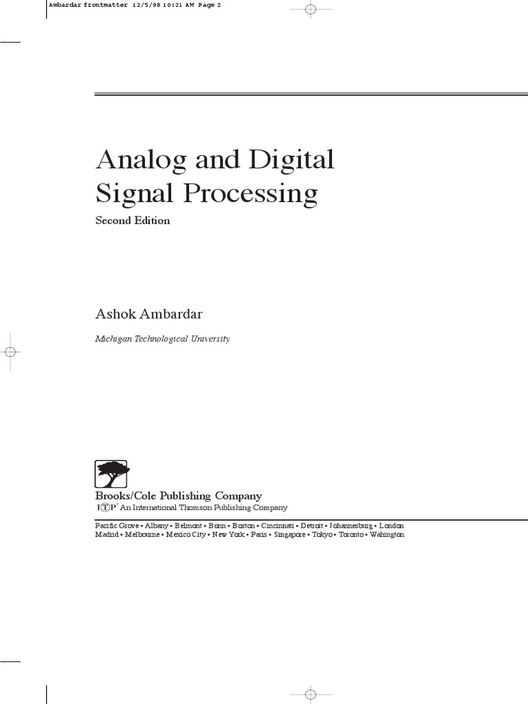 Analog And Digital Signal Processing Discrete Fourier