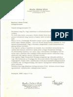 Levél a Külügyminiszternek 2000-ben