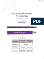 USM PLG 598 Research Thesis Preparation Tips and Common Errors