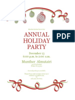holiday party invitation with red and green ornaments