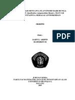 Identifikasi Senyawa Flavonoid Dari Bunga Angsret Dann Uji Aktivitasnya Sebagai Antioksidan (Cover)