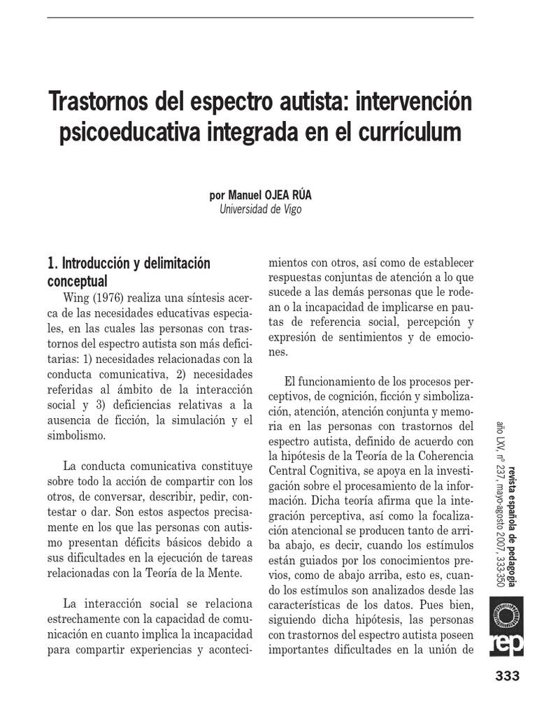 Trastornos del espectro autista: intervención psicoeducativa ...
