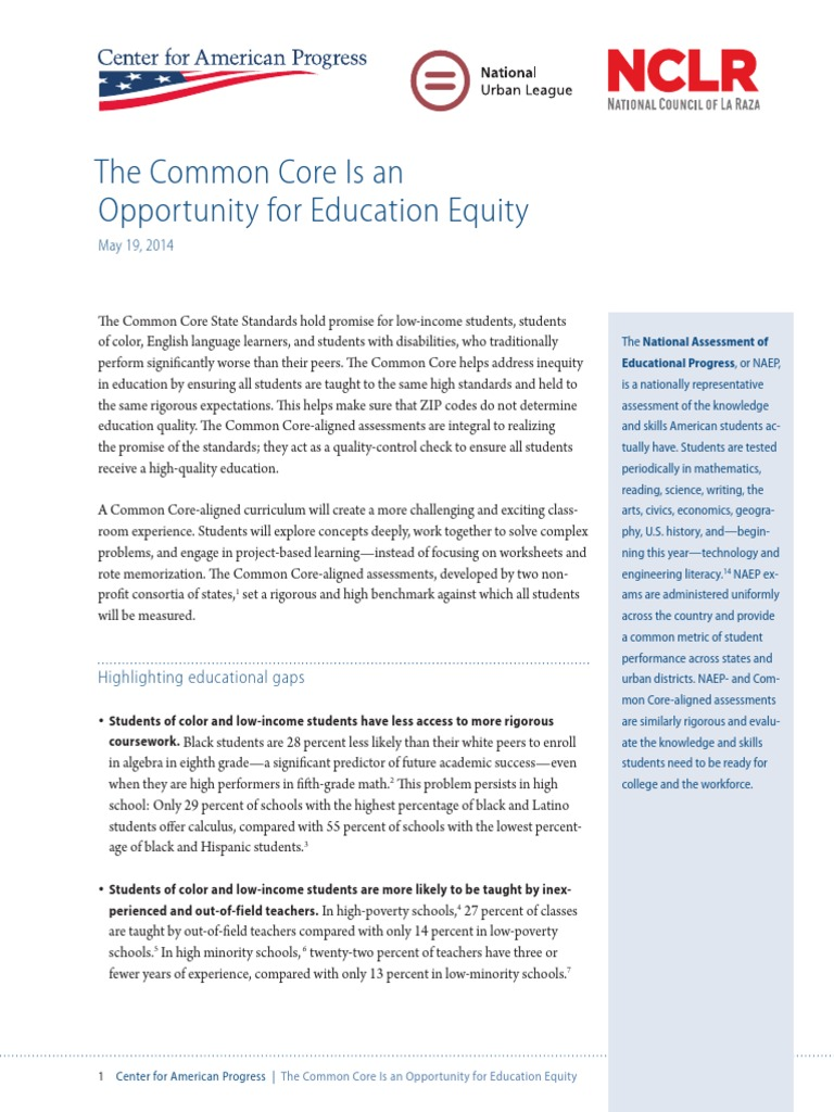 Students Of Color In Low Poverty >> The Common Core Is An Opportunity For Education Equity Common Core