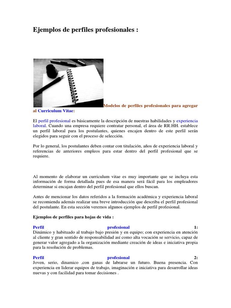 Increíble Reanudar Ejemplos De Perfil Nivel De Entrada Composición ...