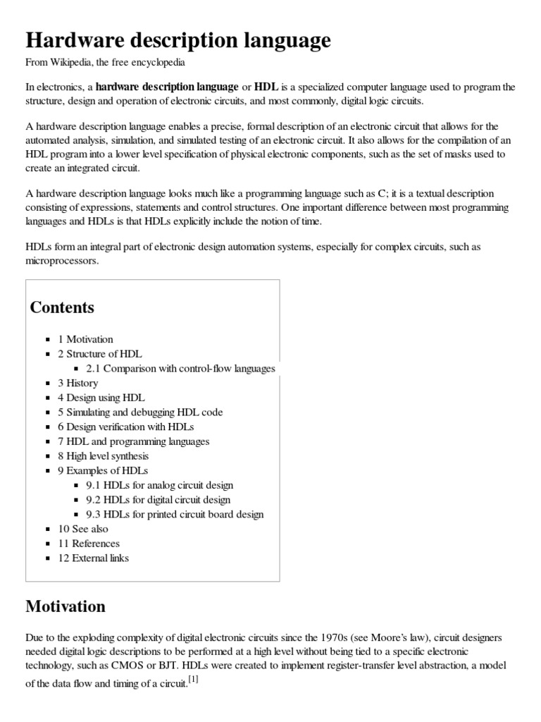 Hardware Description Lan The Free Encyclopedia Electronic Component Wikipedia Language Software