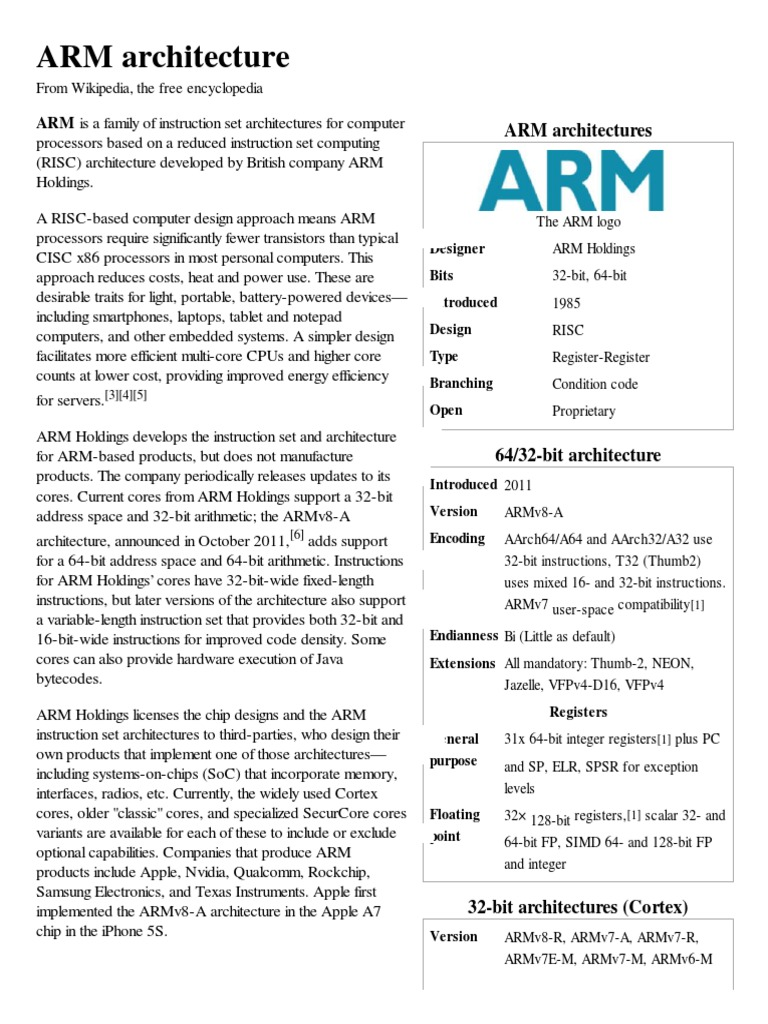 ARM Architecture - Wikip   , The Free Encyclopedia | Arm