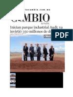 15-05-2014 Diario Matutino Cambio de Puebla - Inician parque industrial Audi; ya invirtió 350 millones de dólares.