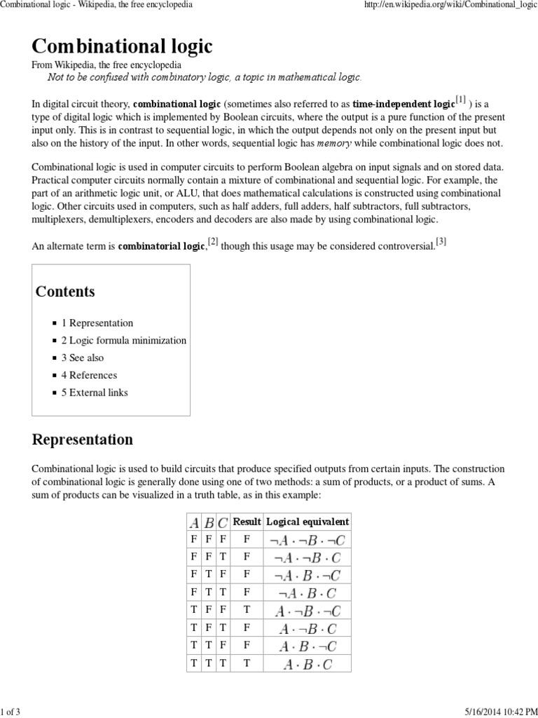 Combinational Logic - Wikipedia, The Free Encyclopedia