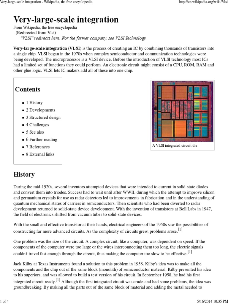 very large scale integration wikipedia, the free encyclopedia