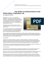 Abstractionist Cindy Walton is Featured Artist at Tyler White Gallery, Greensboro, NC