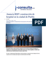 15-05-2014 e-consulta.com - Anuncia RMV construcción de hospital en la ciudad de Puebla.
