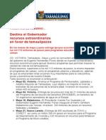Com 0530, 28-12-05 En el primer año de gobierno, Eugenio Hernández destina recursos extraordinarios en favor de tamaulipecos.
