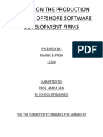 A Study on the Production Costs of Software Firms