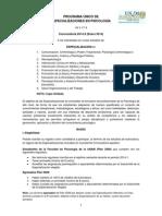 Convocatoria de ingreso 2014-2 al Programa +Ünico de Especializaciones en Psicolog+¡a (PUEP), Fac Psicolog+¡a, UNAM